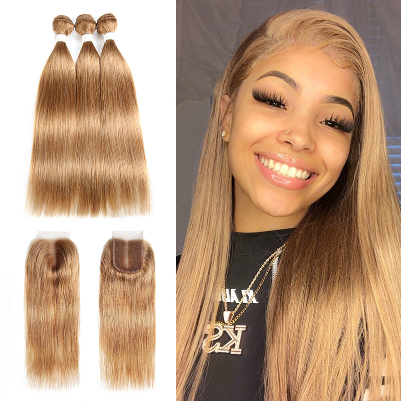 Light Brown Human Hair Bundles With Closure 4x4 KEMY Pre-Colored Brazilian Straight Hair Weave Bundles With Closure Non-Remy