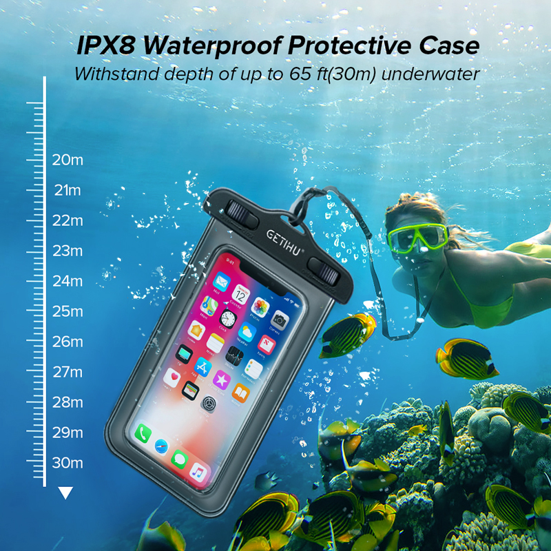 Waterproof Phone Case Swim Pouch Bag For Androids, and iPhone 2