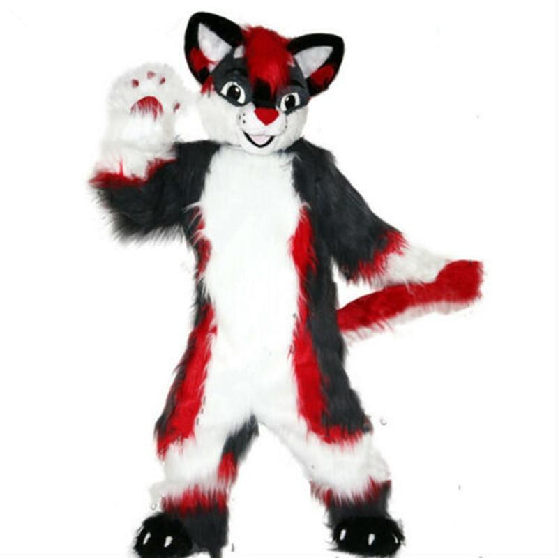 New Husky Dog Mascot Costume Long Fur Fox Adult Fancy Party Suit Unisex Parade
