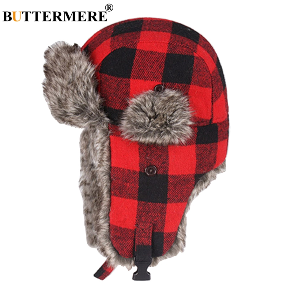 BUTTERMERE Winter Hats For Mens Bomber Hat Fur Red Warm Earflap Cap Windproof Women Thicker Plaid Russian Ushanka Hat Black Blue