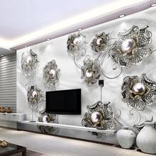 2020 Luxury 3D Jewelry Diamond Flower Custom WallPaper Home Decor Modern Living Room TV Background Self-adhesive Sticker Mural
