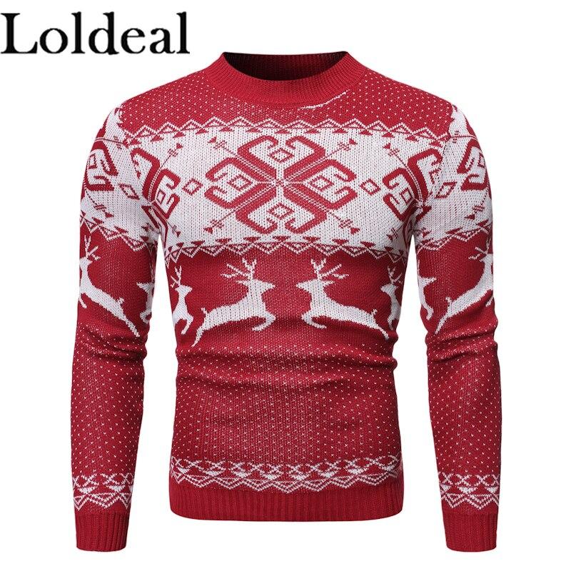 Loldeal Men Sweater Fashion Round Neck Long Sleeve Snowflake Deer Batik Slim Knit