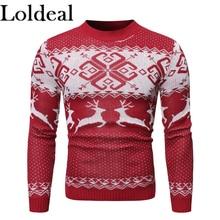 купить Loldeal Men Sweater Fashion Round Neck Long Sleeve Snowflake Deer Batik Slim Knit дешево