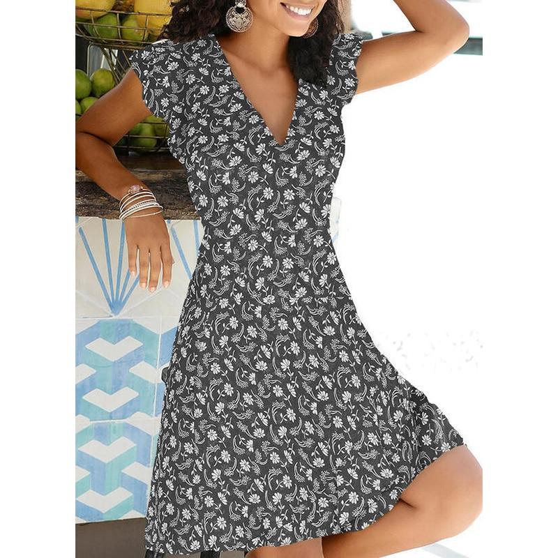 New Summer V Neck Floral Print Party Dress Women Vintage Sleeveless Tank Mini Dress Spring Loose Plus Size A-Line Dress 2021 8