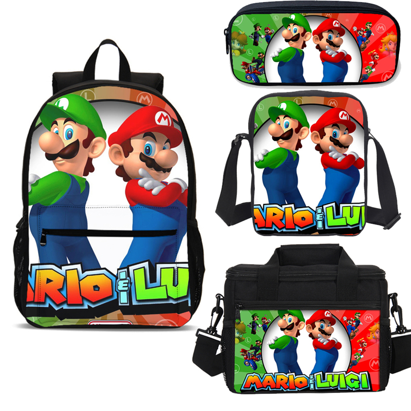 4pcs Super Mario Cute Bookbags Set With Lunch Box Children School Bags Backpack Teenager Boys Girls Kit Mochila Escolar Infantil