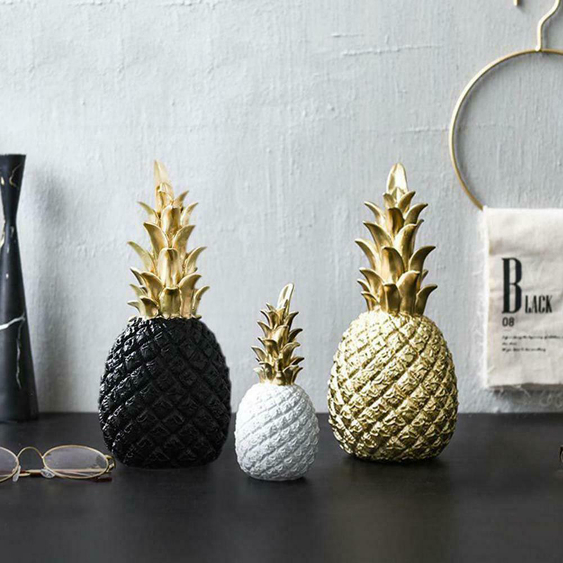 Pineapple-Decoration Desktop-Decor Bedroom Fruit-Shape Resin Black Creative Nordic Golden title=