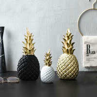 Creative Pineapple Decoration Nordic Fruit Shape Golden Pineapple Decoration Resin Black White Home Bedroom Desktop Decor