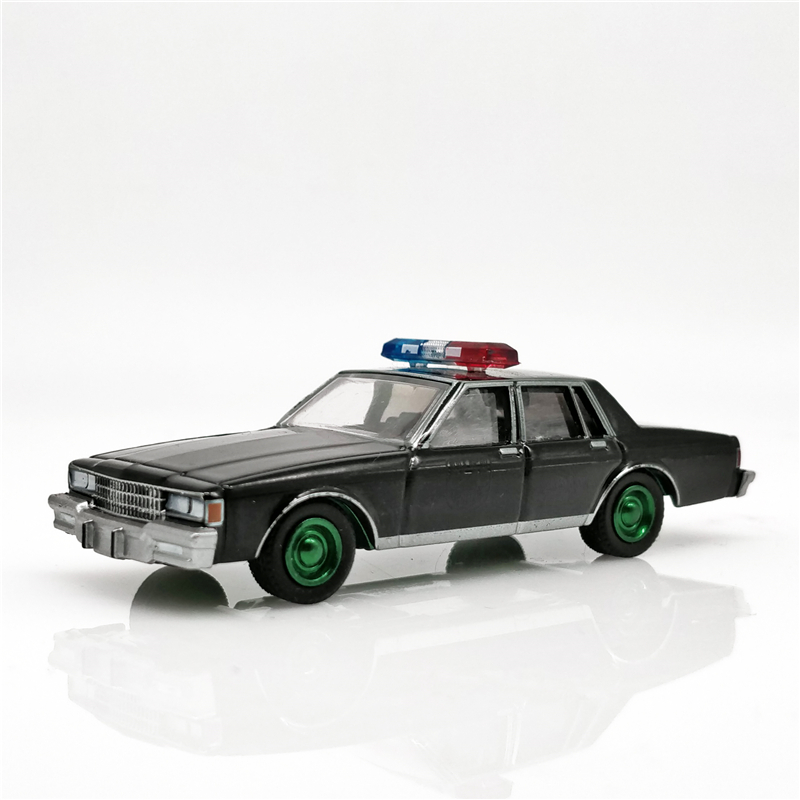 Greenlight 1:64 Black Bandit Police 1980 <font><b>Chevrolet</b></font> Caprice Black Diecast Model Car Green Machine Loose image