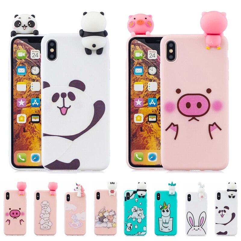 Funda for iPhone 11 Case 3D Panda Unicorn Rabbit Pig Soft Case on For Coque iPhone