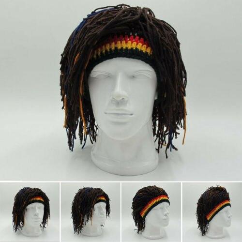 Hot Reggae Dreadlocks Skullies Unisex Jamaican Knitted Beanies Wig Braid Hat Rasta Hair Hat Beanies