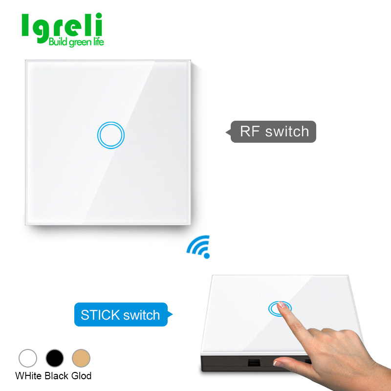 Igreli  EU Standard 1/2/3 Gang 2 Way 433mhz Wireless Remote Wall Light Touch Switch  Stick Remote Touch Switches