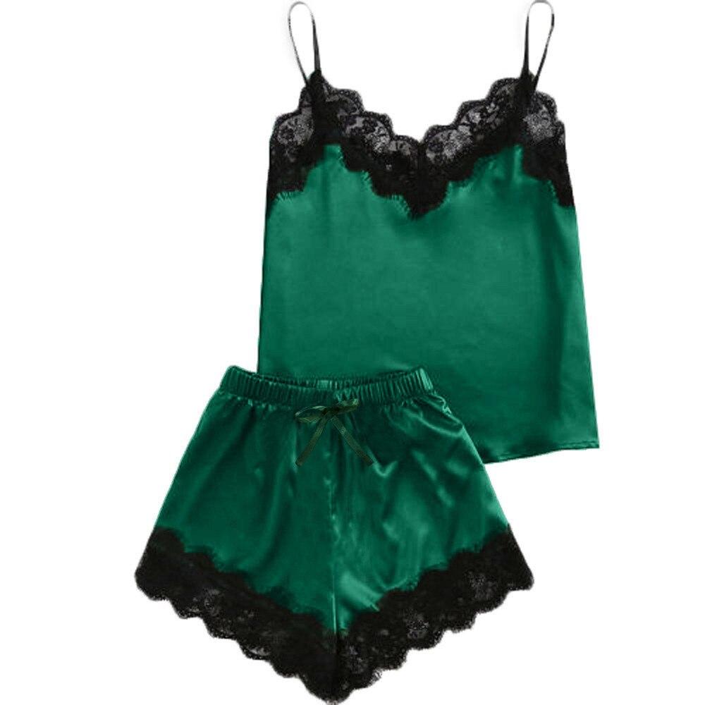 2020 New Women Sleepwear Sleeveless Strap Nightwear Lace Trim Satin Cami Top Pajama Sets Women's Summer Homewear