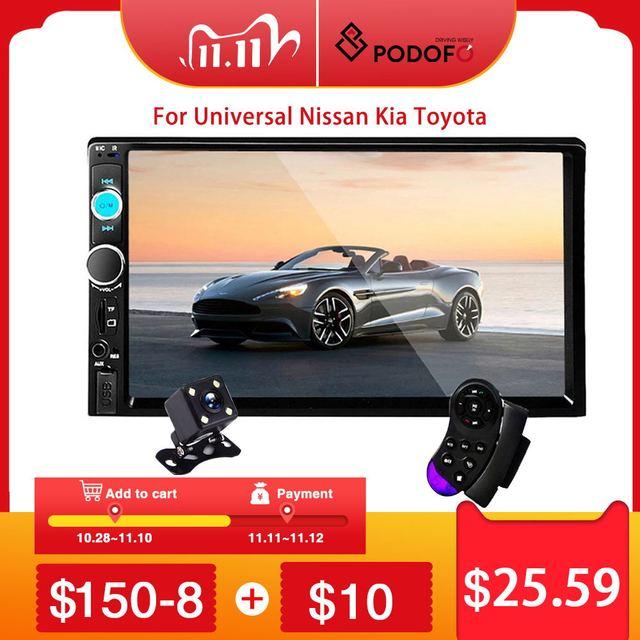 "Podofo 2 דין רכב רדיו 7 ""HD Autoradio מולטימדיה נגן 2DIN מגע מסך אוטומטי אודיו לרכב סטריאו MP5 Bluetooth USB TF FM מצלמה"