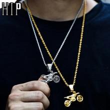 HIP Hop Completa AAA Ghiacciato Fuori Bling CZ Cubic Zircon di Rame Freddo Moto Pendenti Con Gemme E Perle e Collane Per Gli Uomini del Commercio Allingrosso Dei Monili