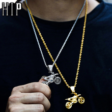 HIP Hop Full AAA Iced Out Bling CZ Cubic Zircon Copper Cool Motorcycle Pendants & Necklaces For Men Jewelry Wholesale