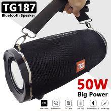 50W Große Wasserdichte Tragbare Spalte Subwoofer TG187 Power Bluetooth Lautsprecher Boom Box Musik Zentrum für telefon Computer Lautsprecher FM