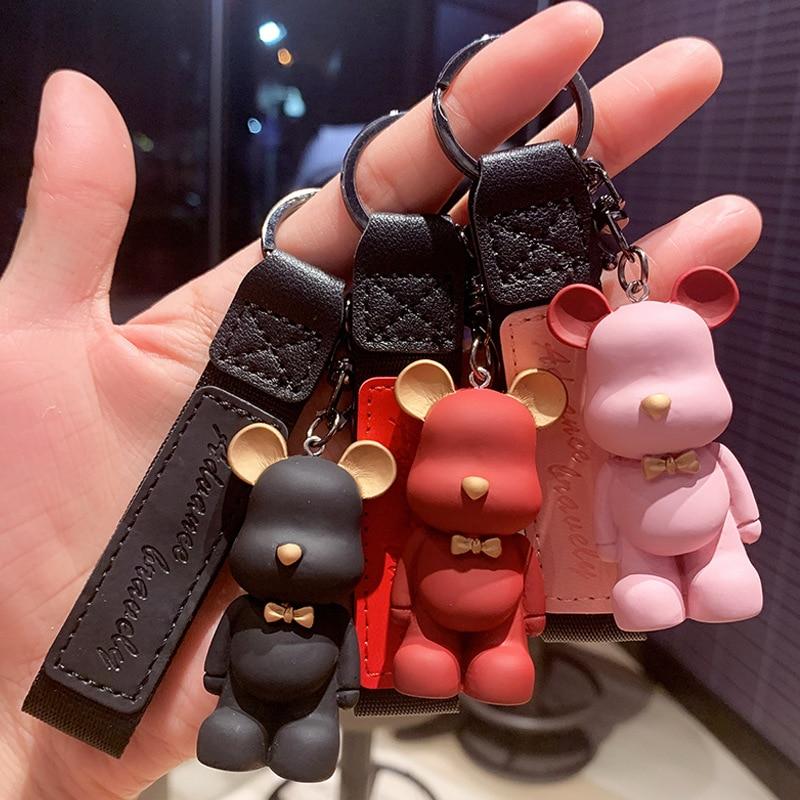 2021 New Cartoon Method Fighting Dog Keychains Cute Bear Key Chain Creative Custom Couple Ins Bag Pendant Car Leather Key Ring