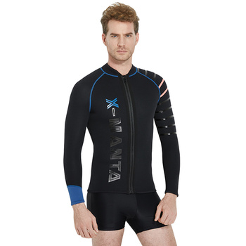 Dive & Sail 3mm Neoprene SCR Mens Wetsuits Jacket Black Wet Suit Top Front Zip Long Sleeve Dive Surfing Kayaking Suits