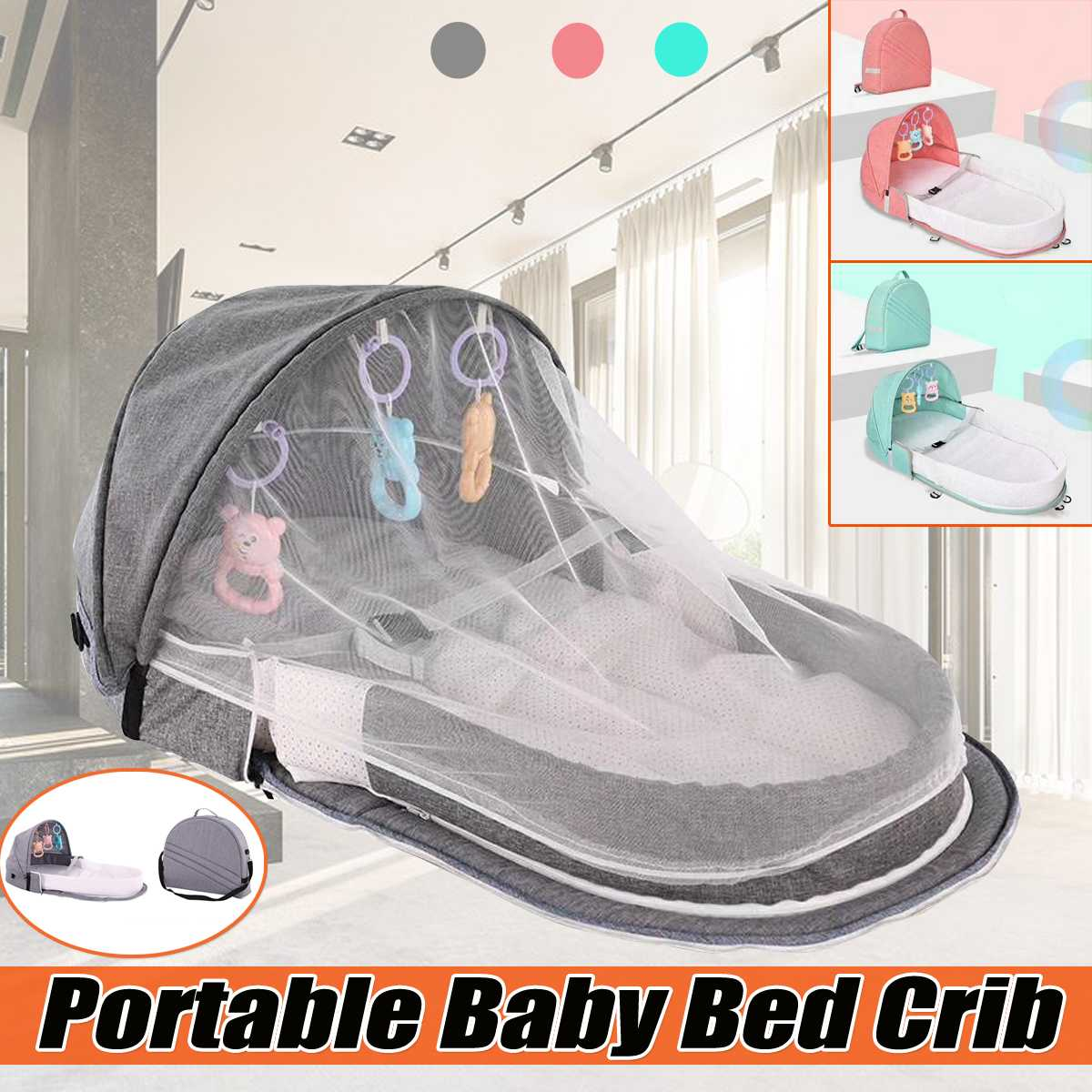 Foldable Baby Bed Multi-function Mummy Bag Portable Travel Baby Crib Cot With Mosquito Net Breathable Infant Sleeping Basket