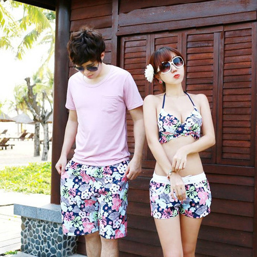 South Korea Couples Bathing Suit Hot Springs Swimwear Push Up Slimming Anti-Side-exposing Underwire Bikini Honeymoon Beach Holid