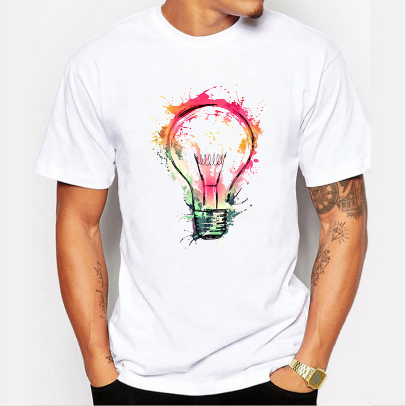 3D Light Bulb Print Tshirt Men Men Clothing Tops Fashion Summer Short T Shirt Men Brand Clothing Cotton Comfortable Male T-shirt
