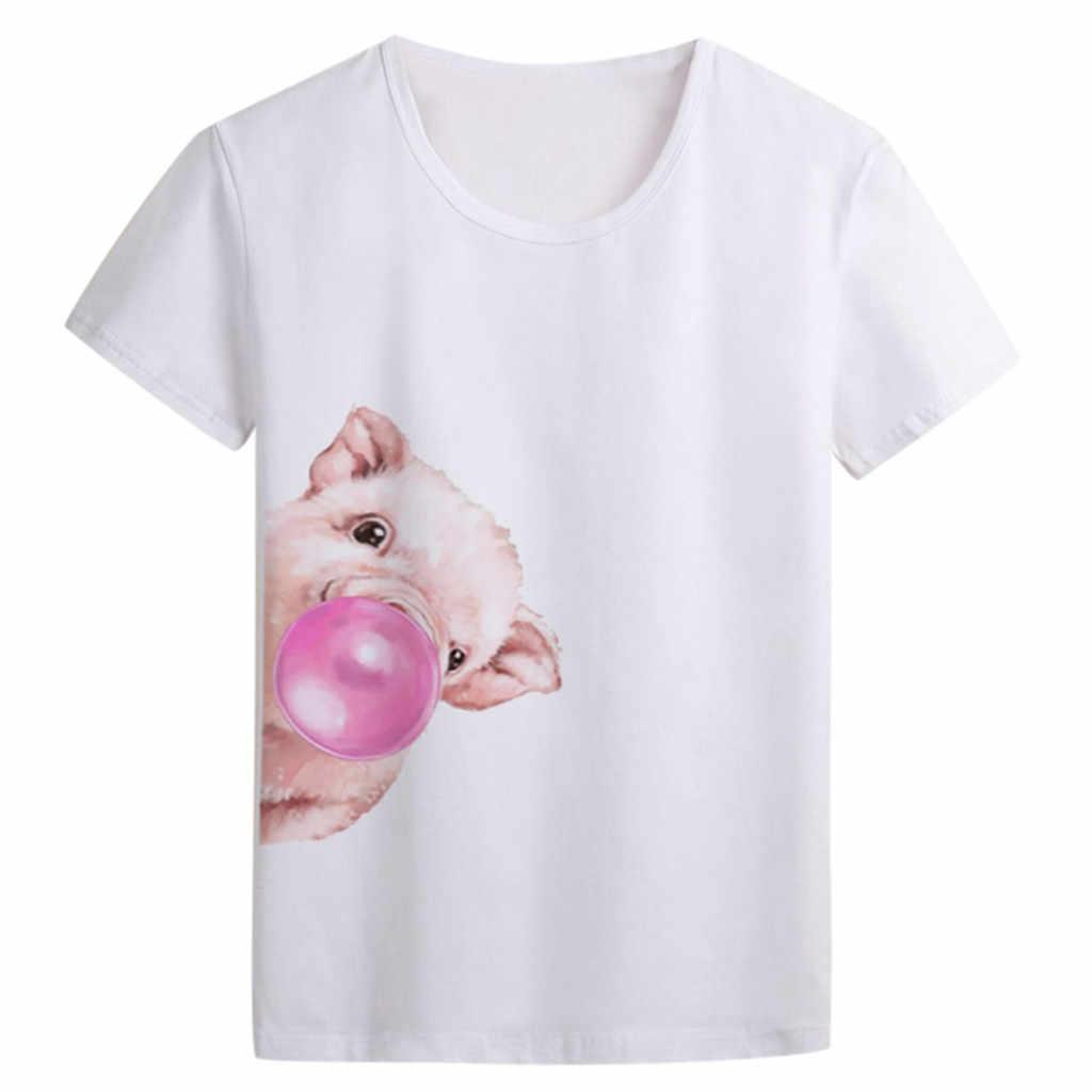#40 Vrouwen T-shirt 2019 Fashion Kleine Pig Print Korte Mouwen Tops T-shirt Tee Camisetas Mujer Verano 2019 Harajuku tshirt