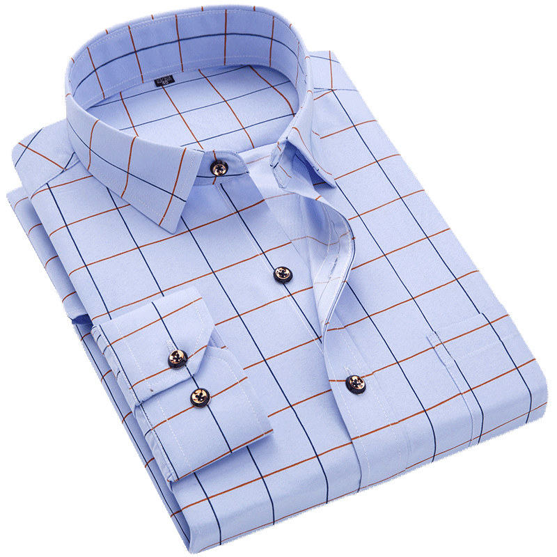H7abe9fc646c242418db474b272452f93K Men Shirt Long Sleeve Floral Printing Plaid Fashion Pocket Casual Shirts 100% Polyester Soft Comfortable Men Dress Shirt DS375