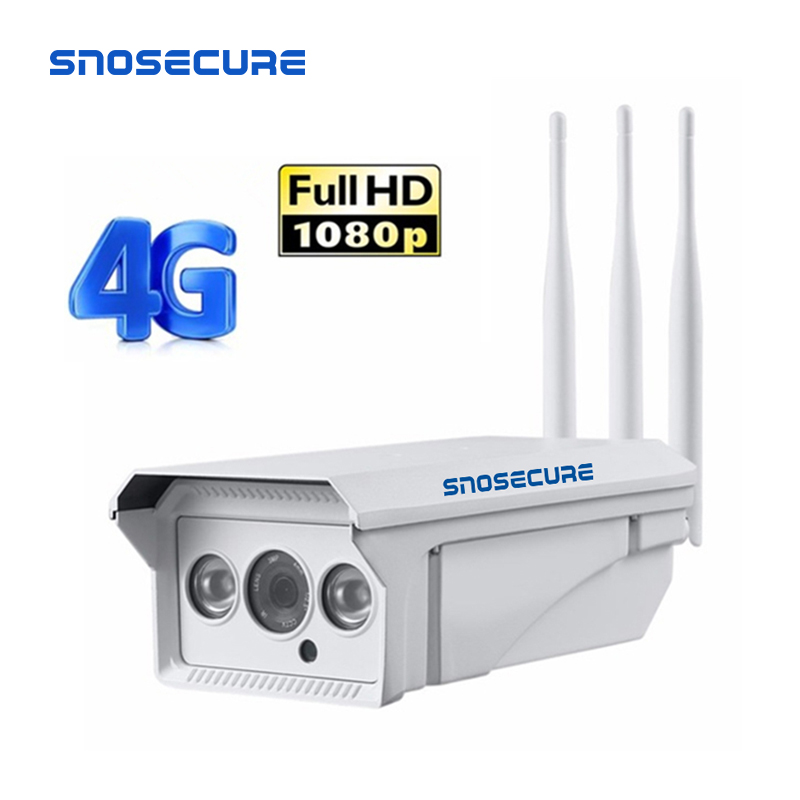 SNOSECURE HD1080P 3G 4G WiFI IP Camera Wireless Outdoor Sim Card GSM Bullet Security Camera Night-Vision 2-Way Audio P2P Camera