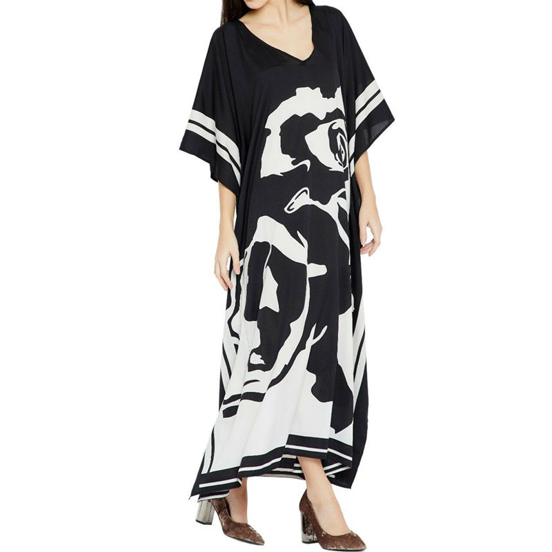 Image 3 - 2020 Plus size Beach Cover ups Bohemian Black Print V neck Long Dress Beach Tunic Women Sarong Beach Kaftan Swimsuit Cover UpCover-up   -