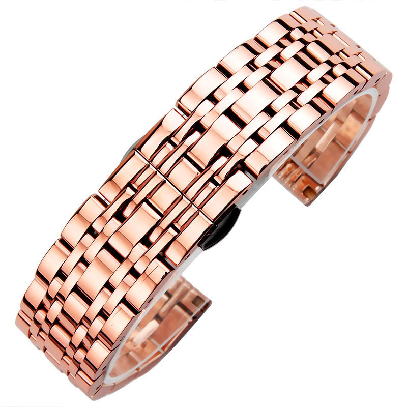 Solid Stainless Steel Watchbands Rose gold 12mm 14mm 16mm 20mm lady Metal Watch Band Strap Wrist Watches for Fossil ck DW image