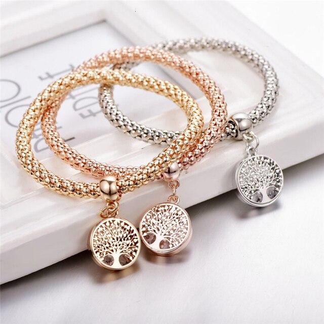 Rétro maïs chaîne Bracelets & Bracelets pour femmes mode Bijoux strass arbre amour coeur manchette bracelet à breloques ensemble Bijoux Femme