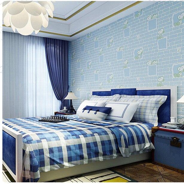 [Waterproof Antifouling Resistance Scrubbing] CHILDREN'S Room Snoopy Wallpaper Warm Cartoon Boys And Girls Bedroom Wallpaper