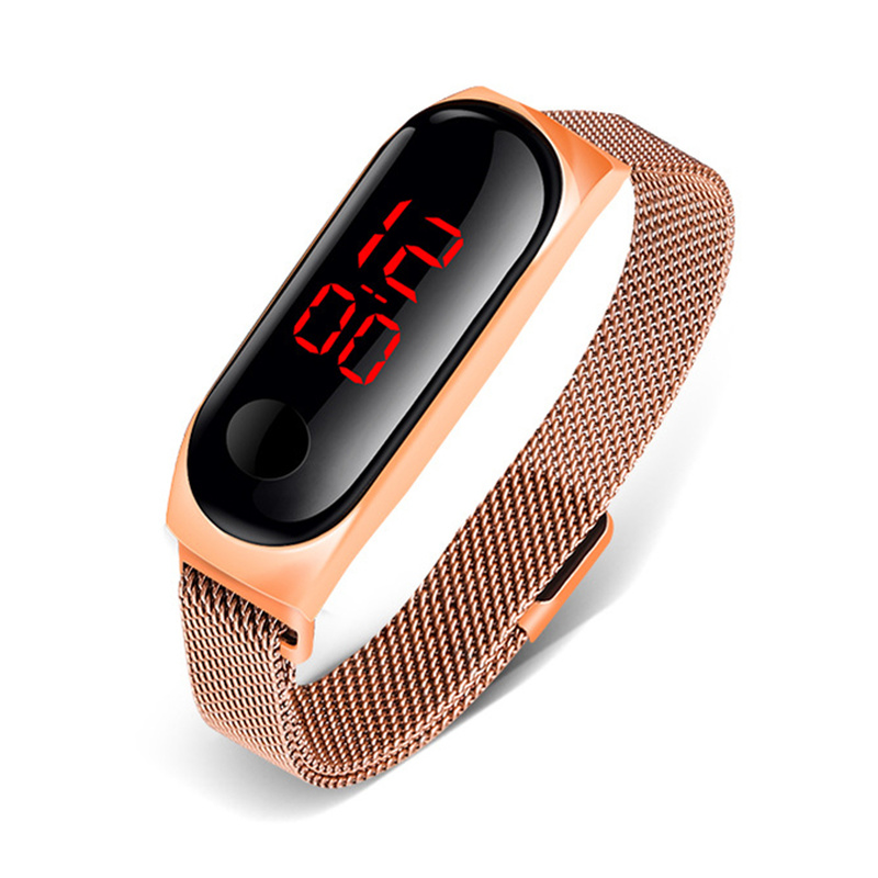 Ladies Watch Women Touch Screen LED Watches Rose Gold Magnetic Mesh Belt Electronic Clock Digital Wristwatches WaterEroof Sport 1