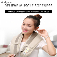 Neck Shoulder Massager Electric Back Massage Heat Deep Kneading Tissue Massage for Muscles Pain Relief Relax in Car Office Home