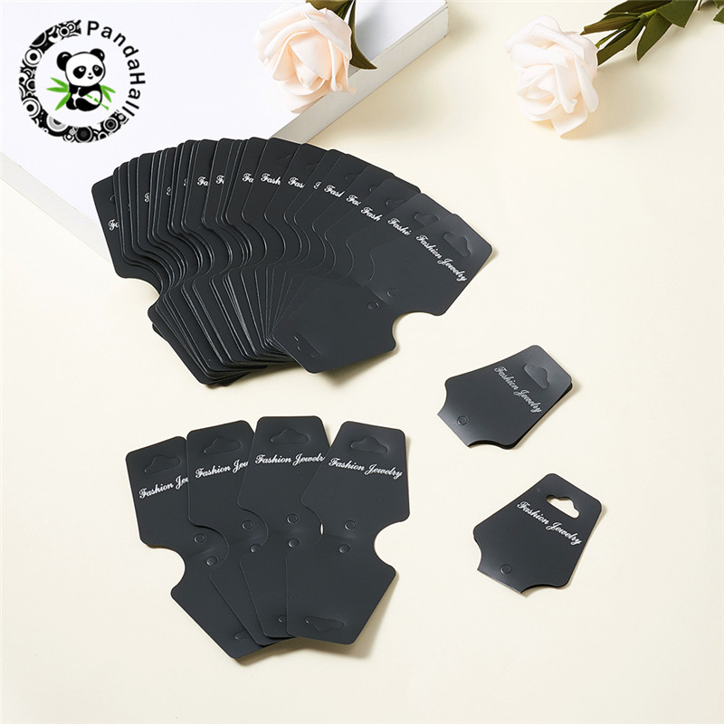 Pandahall 100pcs Plastic Packing Necklace Bracelet Pendant Jewelry Display Card Tag Black Clear
