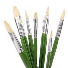 6 pçs/set, fabricantes Diretos porco cerdas pintura a óleo do artista escovas Língua pico Conjunto de pincel de pintura Desenho materiais de Arte