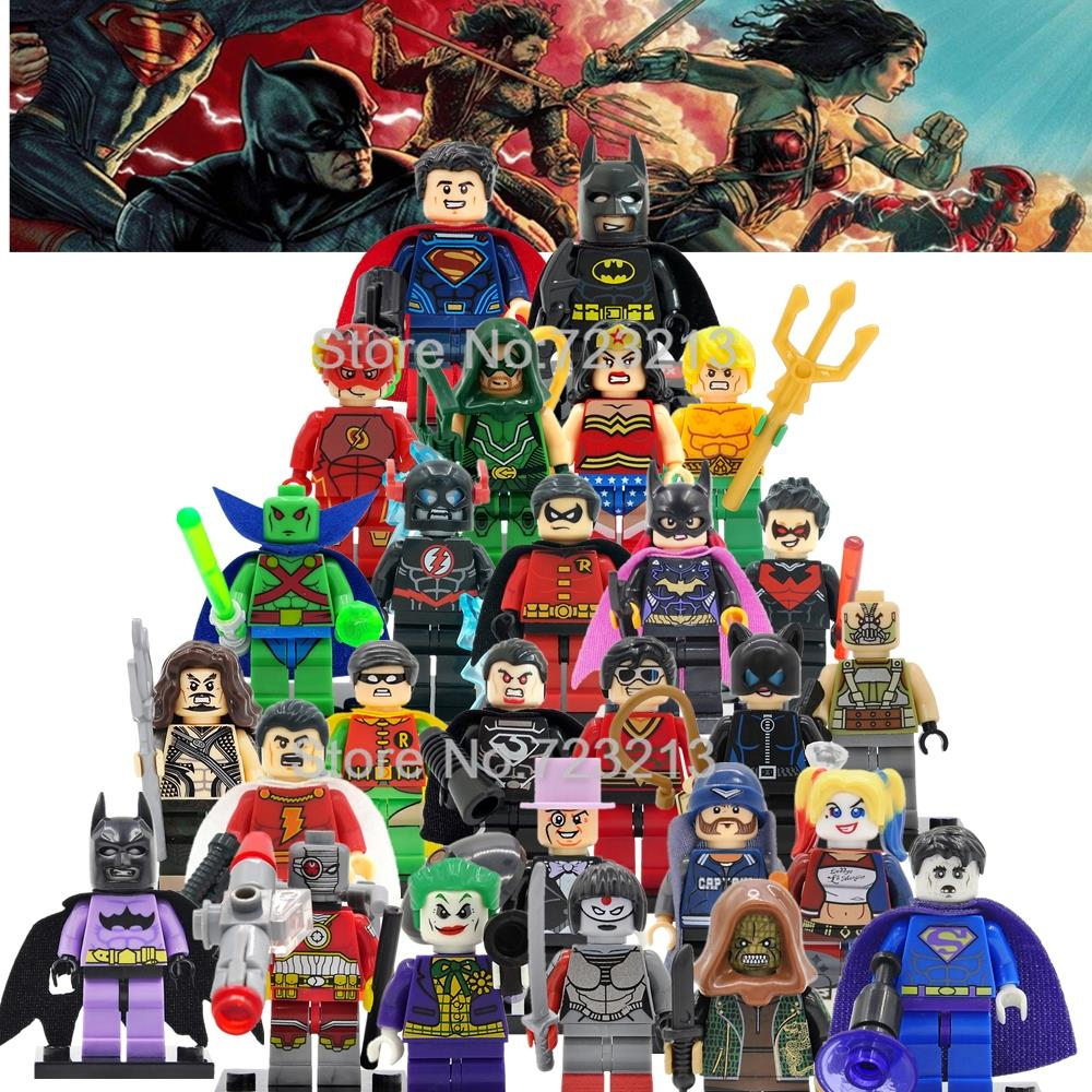 6pcs/lot DC Super Heroes Figure Set Justice League Batman Suicide Squad The Flash Arrow Building Blocks Model Brick Toys Legoing