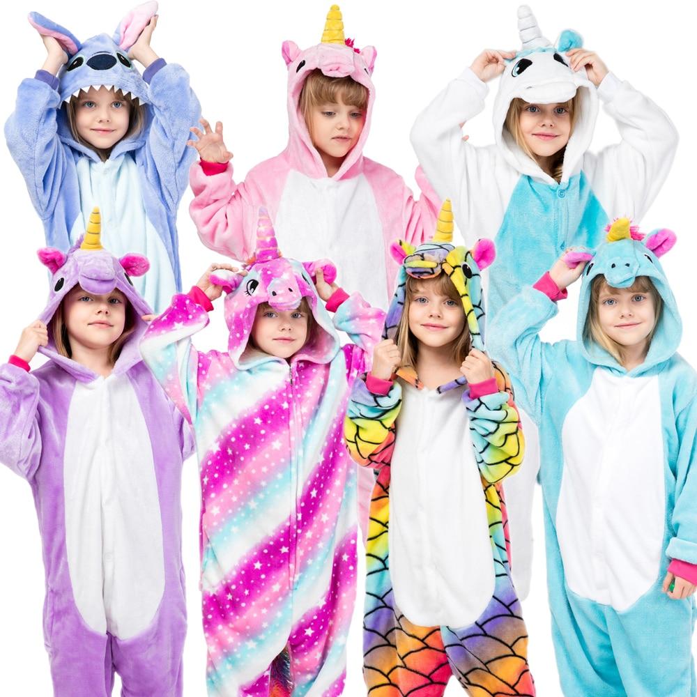 Kigurumi Children's Sleepwear For Boys Girls Unicorn Pajamas Flannel Kids Stich Unicornio Pijamas Set Animal Winter Onesies