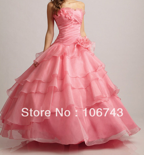 Free Shipping 2019 New Style Hot Sale Sexy Bride Sweetheart Flowers Tiered Custom Quinceanera Organza Ruffles Bridesmaid Dresses