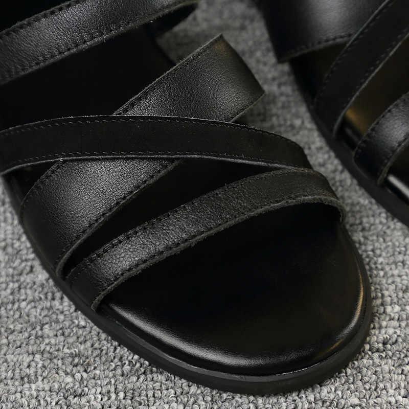 Scarpe degli uomini di Estate 2020 Britannico di Alta Top 100% di Cuoio Reale casual Traspirante Beach Sandali Gladiatore Open Toe Sandalias Hombre
