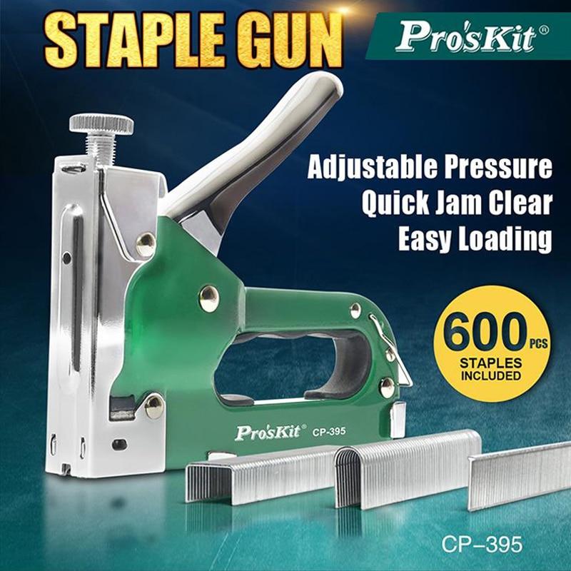 Proskit 3 In 1Manual Furniture Stapler Heavy Duty Staple Gun Nail Gun With 3 Types Tacker 600 Staples Nailer For Framing Nailer
