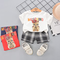 2021 Summer Kids Toddler Boys Clothes Set Baby Girls Cartoon Bear Printed Cotton T-shirt+Plaid Shorts Child Outfits Clothing