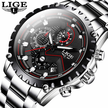 цена LIGE New Fashion Quartz Watch Men Top Brand Luxury Sport Mens Watches Military Waterproof Chronograph Clock Relogio Masculino онлайн в 2017 году