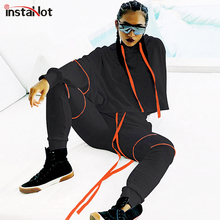 InstaHot Black Drawstring Hoodies Stripe Carrot Loose Pnat Set Two Piece Women Autumn Highstreet Casual Tracksuit 2019