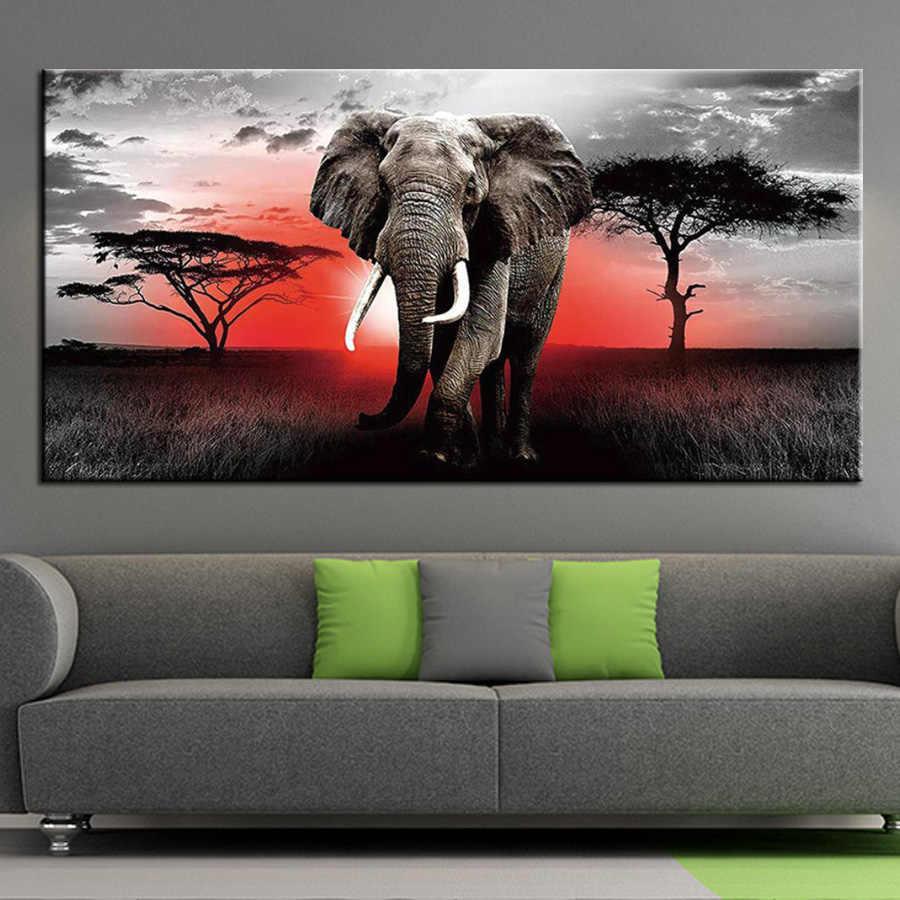 5d diy große diamant mosaik afrikanische elefanten diamant malerei kreuz stich voll platz runde bohrer stickerei tiere kit AA2473