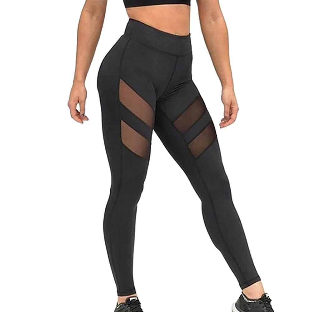 Casual Pants Fitness Stitching Mesh Leggings Women Step On The Foot Elasticity Workout Pants