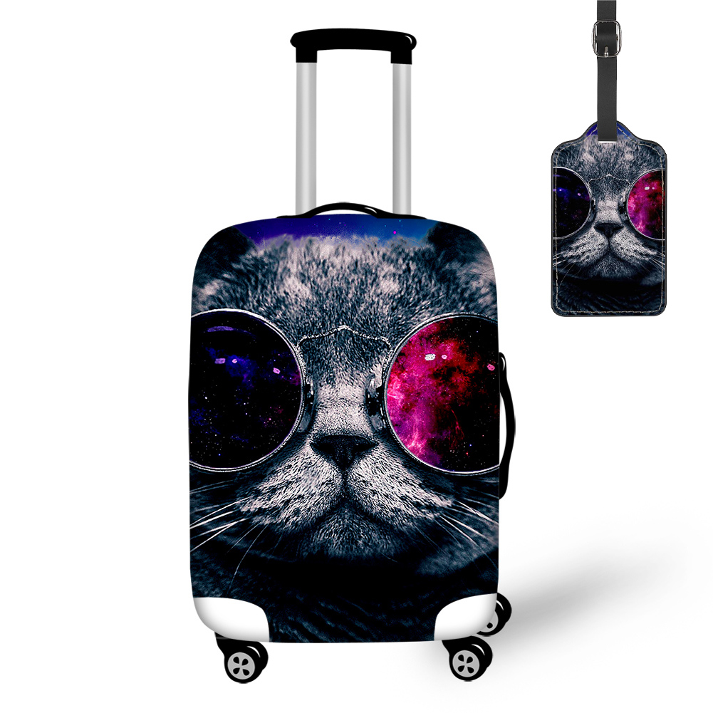 THIKIN Galaxy Glasses Cat Print Travel Luggage Cover And Tag Easy Convenient Tourism Bag Funny Animals Pattern Protective Case