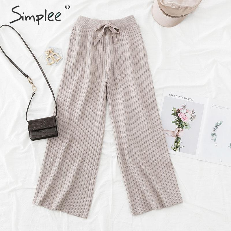 Simplee Wide-leg Knitted Women Trousers Autumn Winter Loose Casual Soft Pants Elastic Waist Bow Tie Ladies Sweater Pants 2019