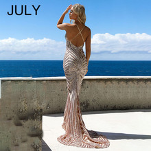 JULY New Mermaid Party Dress Summer 2019 Bodycon V Neck Backless Strap Cross Sexy Female Sequin Long Maxi Vestidos