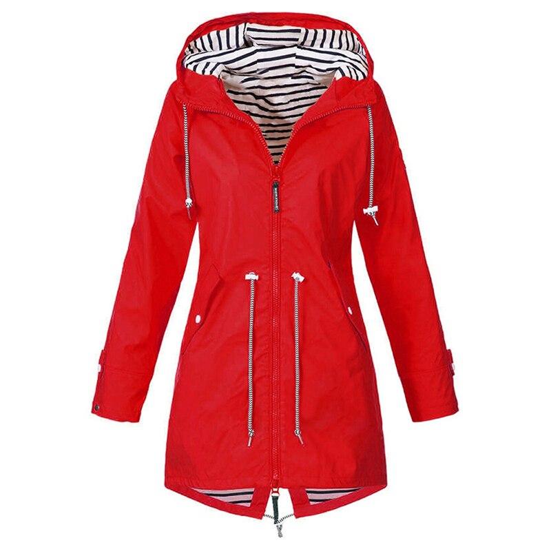 Women Fashion Raincoat Transition Jacket Long Autumn Winter Rain Coat 2020 New Hiking Outdoor Camping Windproof Jacket Coat